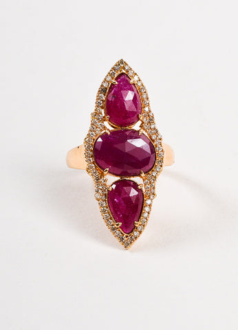 18K Rose Gold Ruby Diamond Pear Oval Pave Cocktail Ring frontview