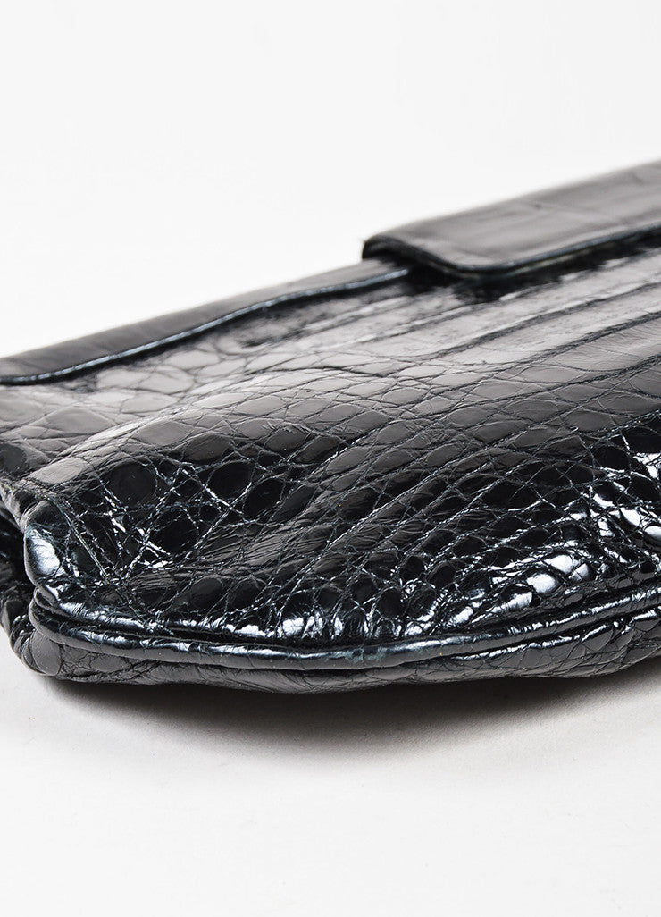 Nancy Gonzalez Black Crocodile Leather Rectangular Clutch Bag Detail 2