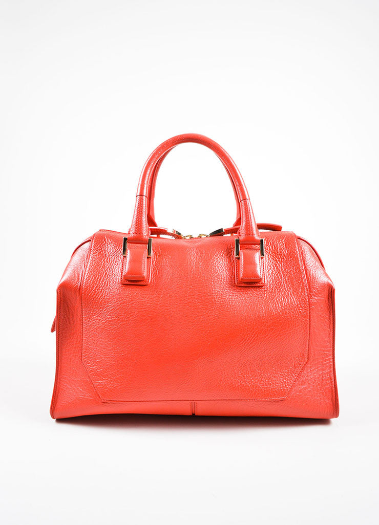 Red Leather Narciso Rodriguez Medium Bowler Tote Bag Frontview