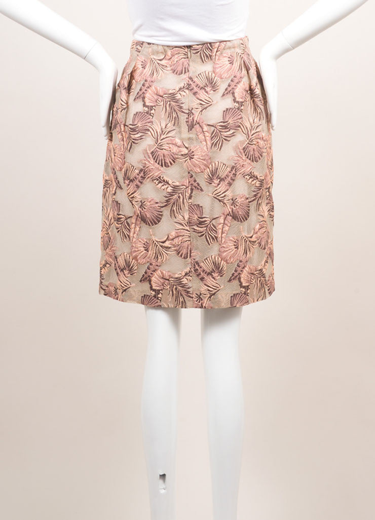 Odeeh New With Tags Peach and Taupe Cotton and Silk Leaf Jacquard Short Bell Skirt Backview