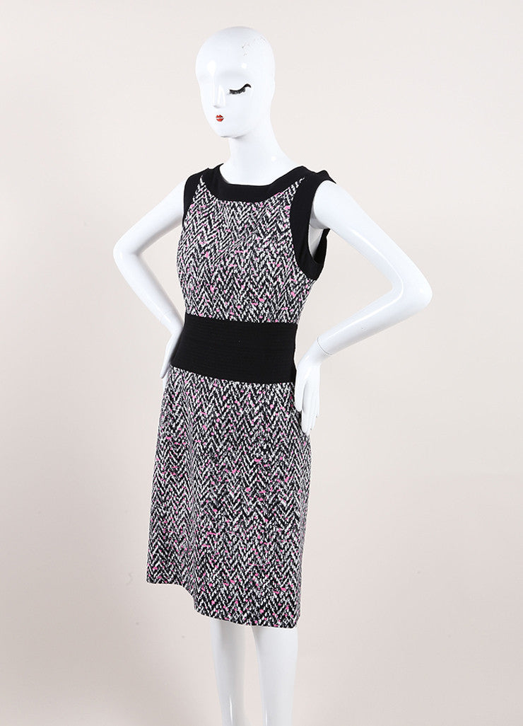 Oscar de la Renta New With Tags Black, White, and Pink Chevron Splatter Print Dress Sideview
