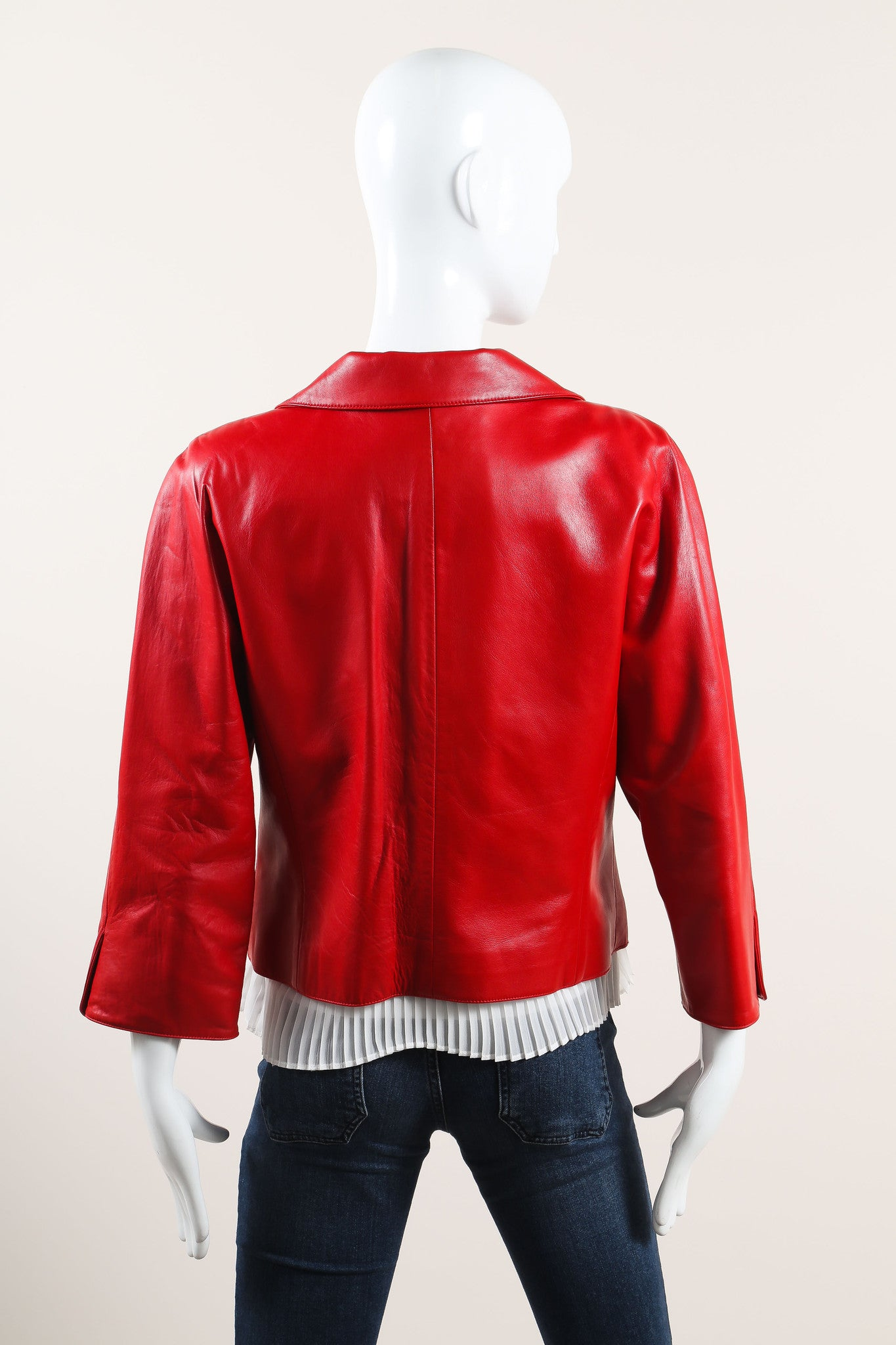 Oscar de la Renta Red Leather Button Up Crop Sleeve Jacket Backview 2