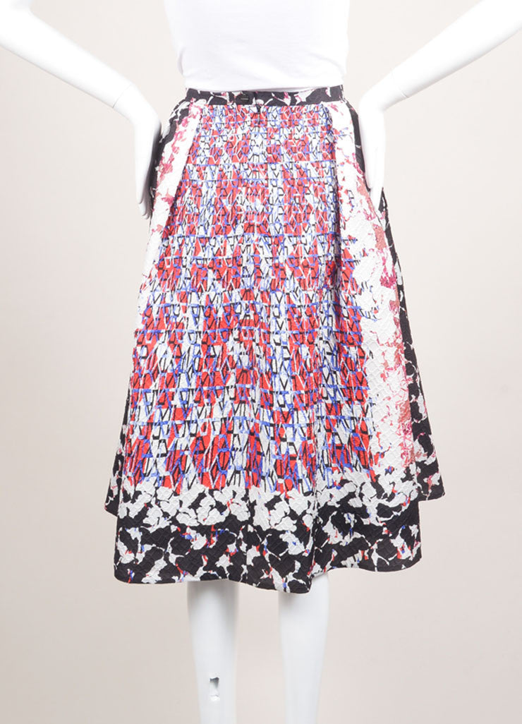 "Peter Pilotto Multicolor Camo Print Mattelasse ""Emma"" Skirt Backview"
