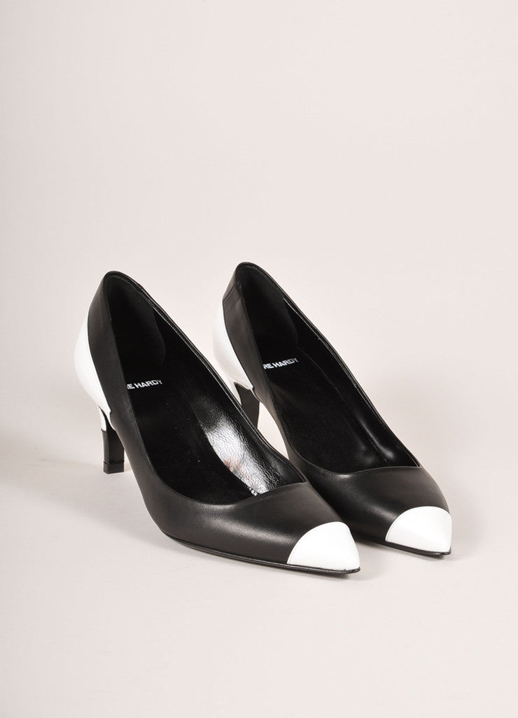 Pierre Hardy New In Box Black and White Leather Colorblock Pointed Toe Heels Frontview