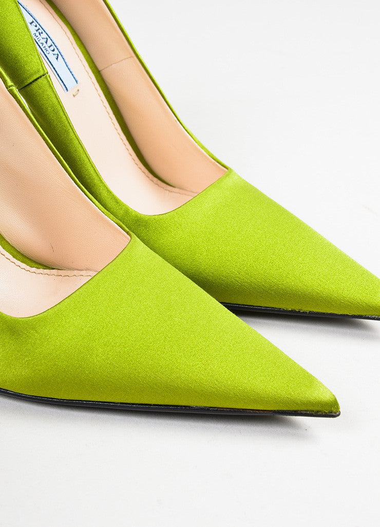 Prada Green Satin Pointed Toe Pumps Detail