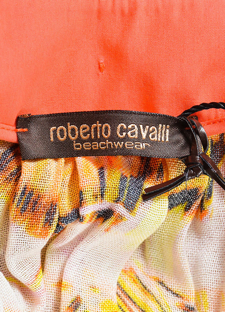 Roberto Cavalli Pink and Multicolor Feather Print Caftan Dress Brand