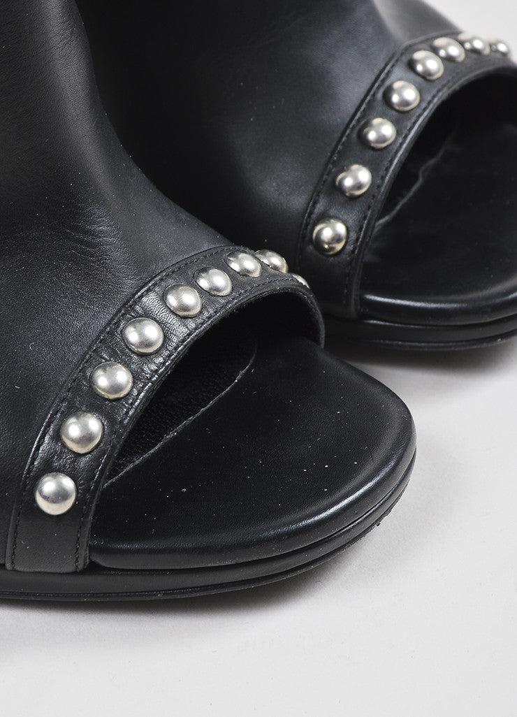 Saint Laurent Black and Silver Toned Leather Open Toe Studded Booties Detail