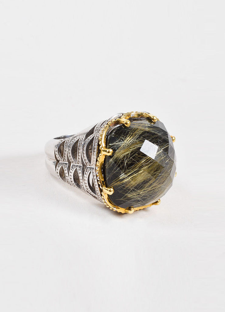 Tacori Sterling Silver, 18k Gold, Rutilated Quartz, and Black Onyx Ring Sideview