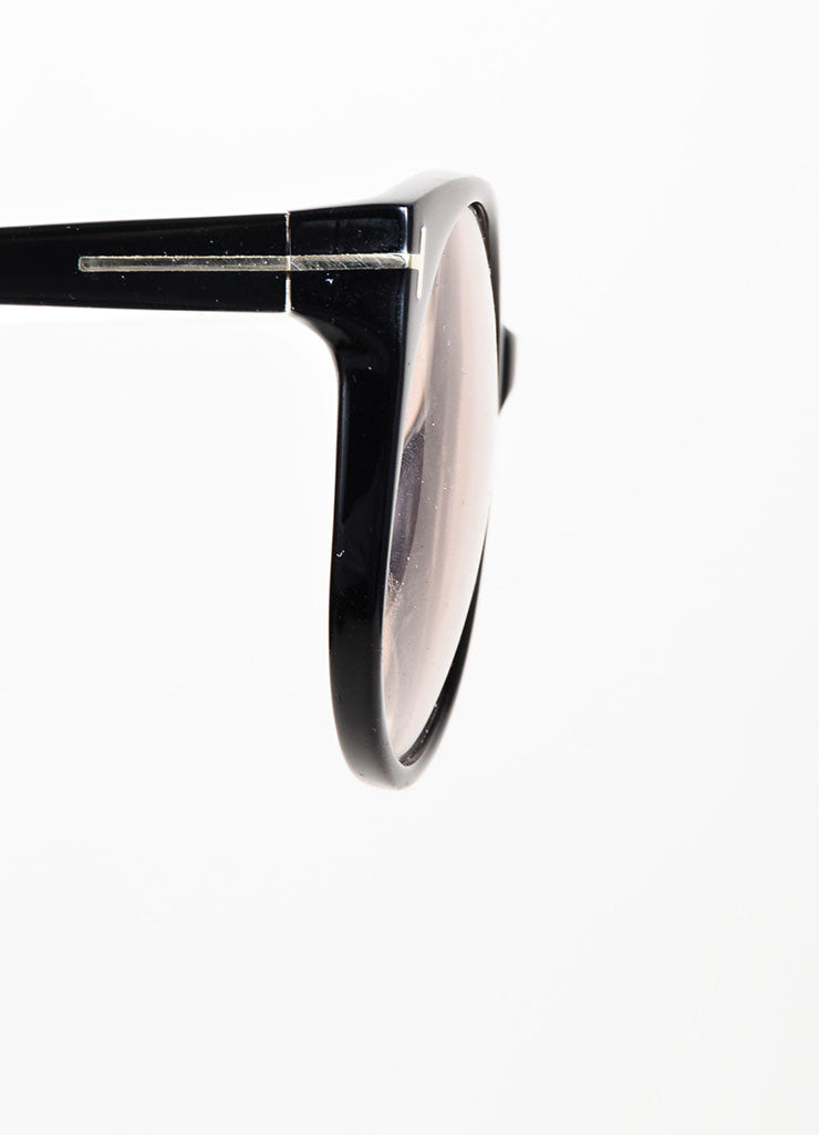 "Black and Cream Tom Ford Interchangeable ""Agatha"" Oval Sunglasses Detail"
