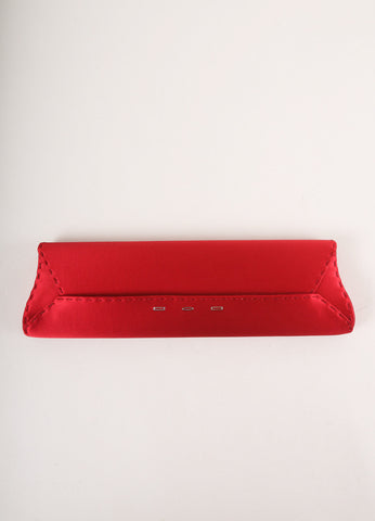 "VBH Red Stitched Satin ""Manila"" Long Clutch Bag Frontview"