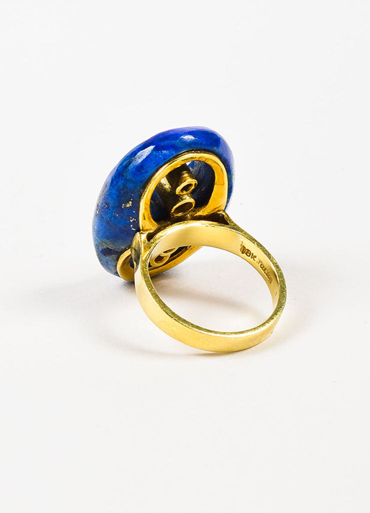 18K Yellow Gold, Diamond, and Lapis Cut Out Oval Ring Backview
