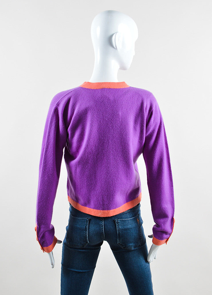 Chanel Purple and Coral Cashmere Two Piece Sweater Set Backview