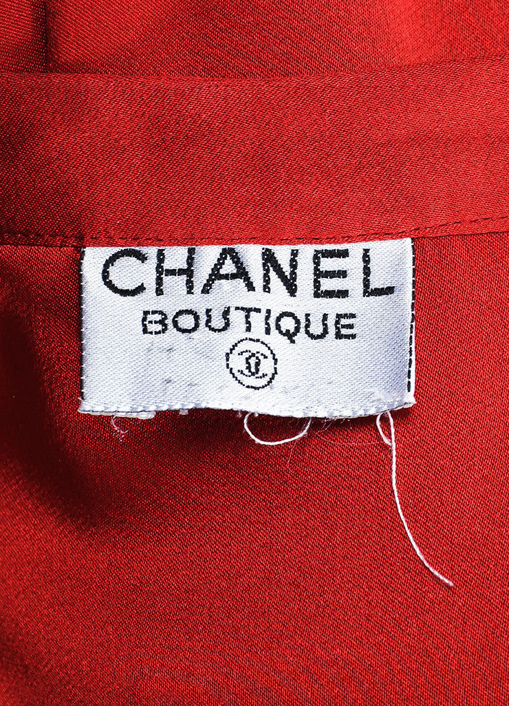 Chanel Red and Gold Toned 'CC' Button Collar Bow Long Sleeve Blouse Brand