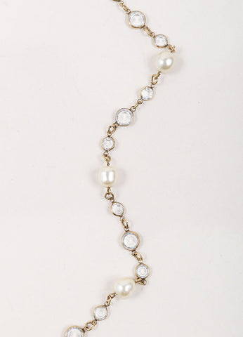 Chanel God Toned, Cream, and Clear Stone Faux Pearl Long Sautoir Necklace Detail
