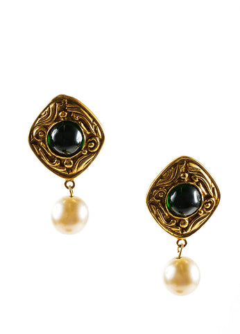 Gold Toned and Green Chanel Poured Glass Faux Pearl Drop Earrings Frontview