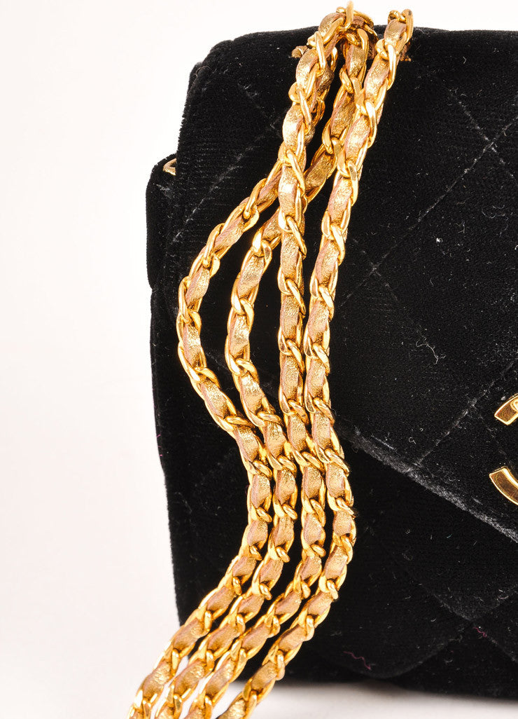 "Chanel Black and Gold Toned Quilted Velvet ""CC"" Turnlock Chain Strap Mini Flap Bag Detail 2"