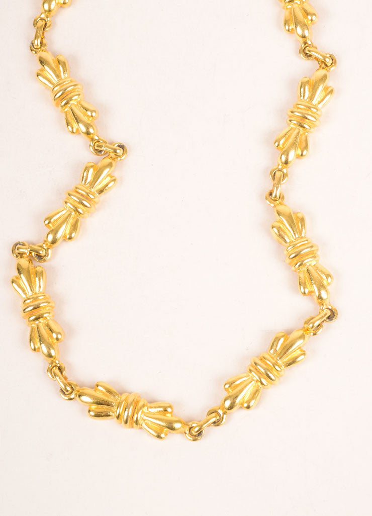 Mimi Di N Gold Toned Link Bow Chain Necklace Detail