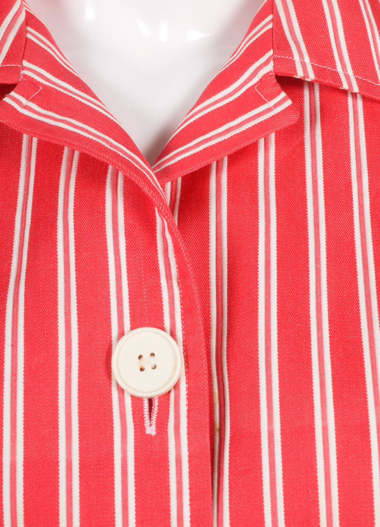 Saint Laurent Red and White Twill Knit Pinstripe Button Up Shirt Detail