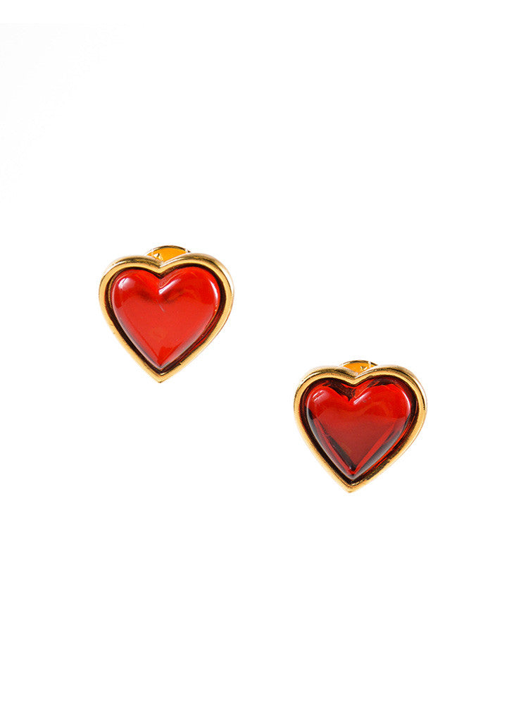 Yves Saint Laurent Gold Toned and Red Asymmetrical Heart Post Earrings Frontview
