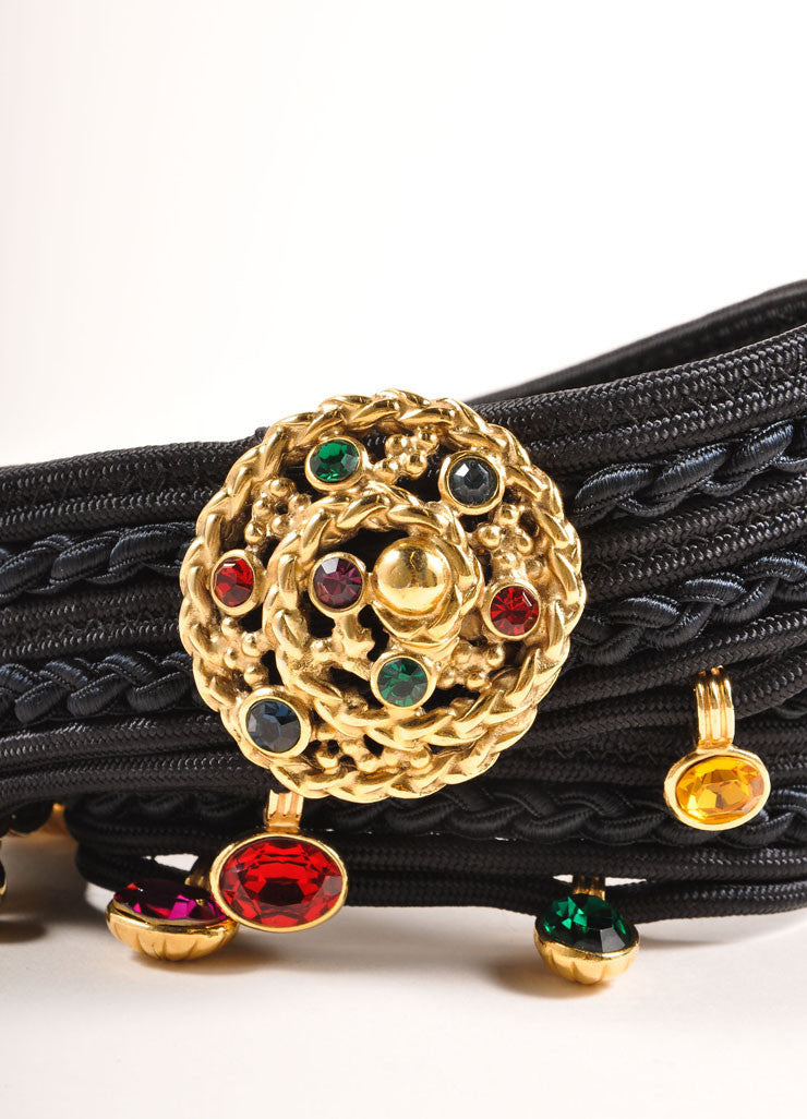 Yves Saint Laurent Black and Multicolor Curled Rope and Gem Bead Detail Belt Detail