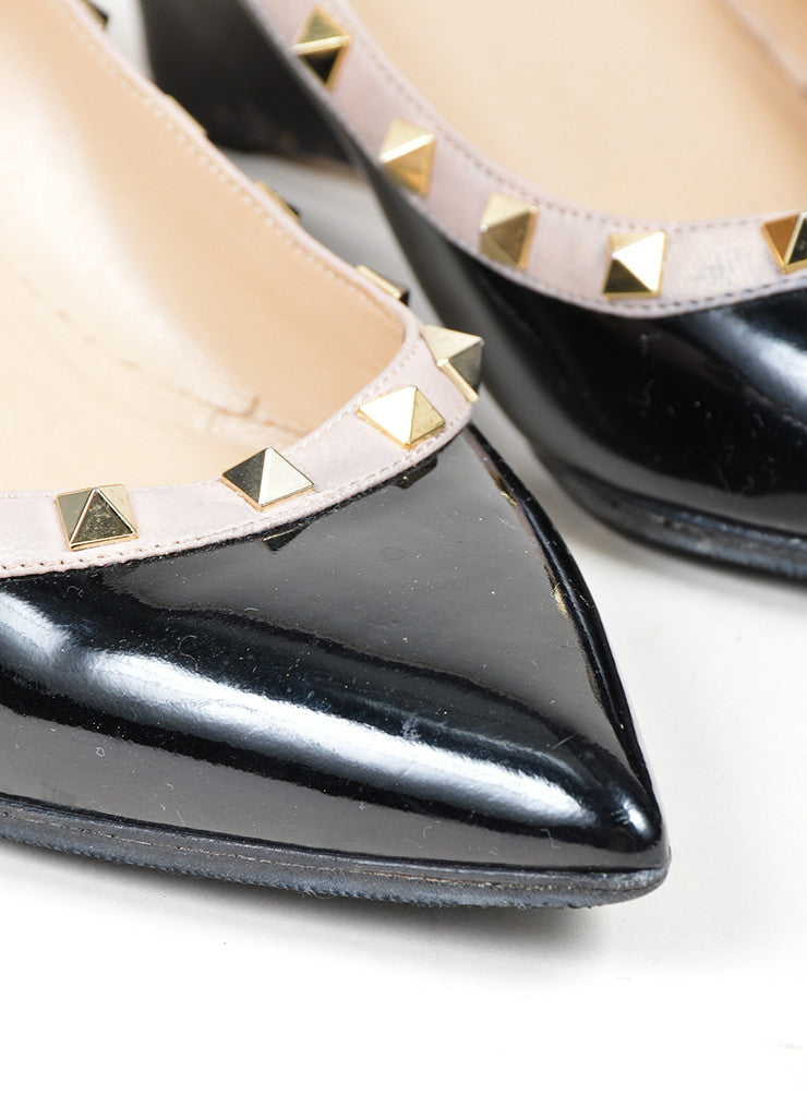 Black and Gold Toned Valentino Rockstud Patent Leather Studded Wedge Pumps Detail