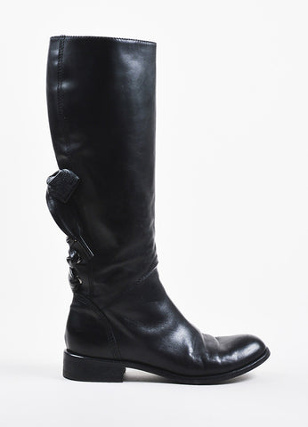 Valentino Garavani Black Leather Lace Up and Bow Detail Calf High Boots Sideview