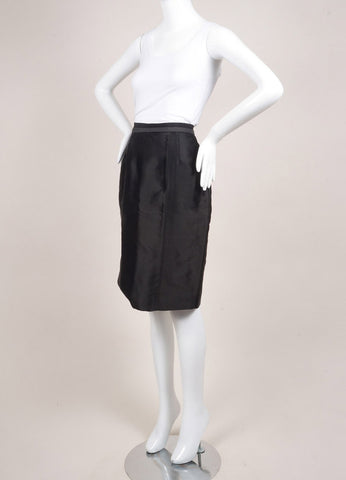 Valentino New With Tags Black Dot Stitch Wool and Silk Blend Pencil Skirt Sideview