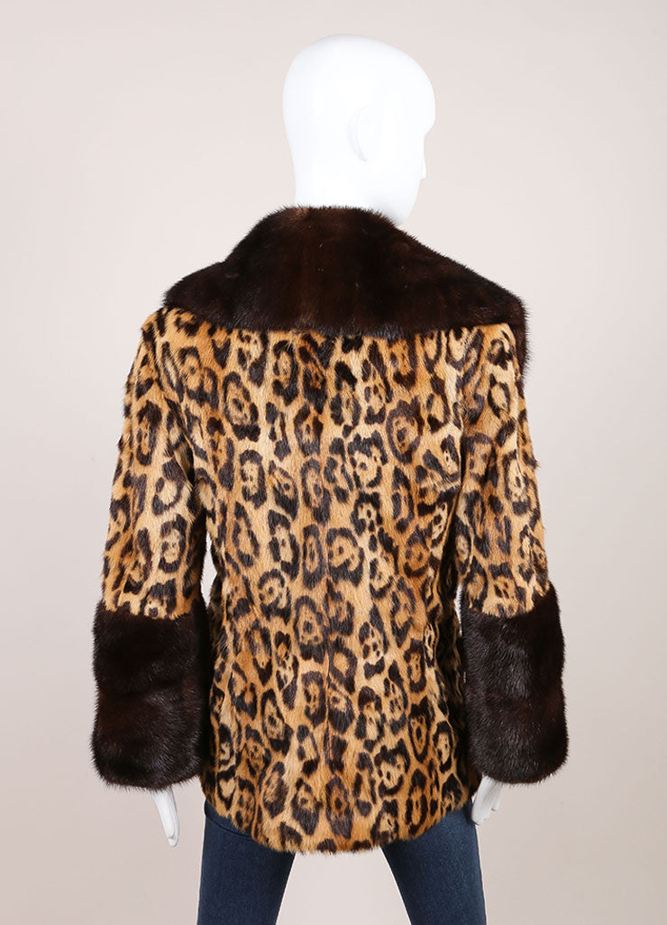 Valentino Tan and Brown Mink Trim Leopard Print Long Sleeve Coat Backview
