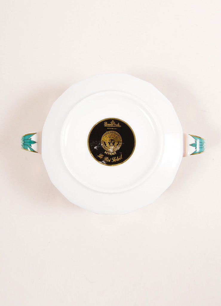 "Versace Rosenthal Red and Multicolor ""Le Roi Soleil"" Large Soup Cup Bottom View"