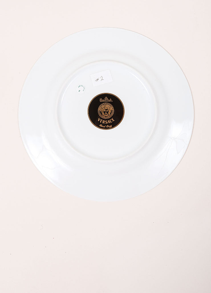 "Versace Rosenthal ""Floral Elegy Rose Pink"" 9 inch Salad Plate Bottom View"
