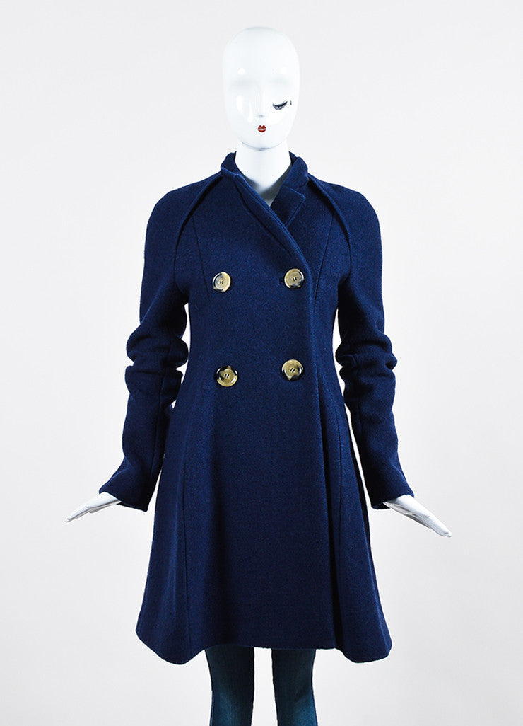 Navy Blue Victoria Beckham Wool Double Breasted Coat Frontview 2