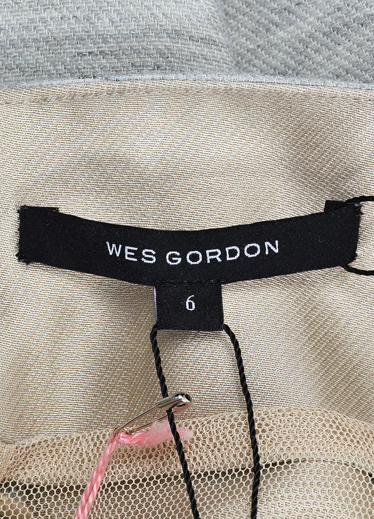 "Grey Wes Gordon ""Sand"" Satin Panel ""Trompe L'Oeil"" Dress"
