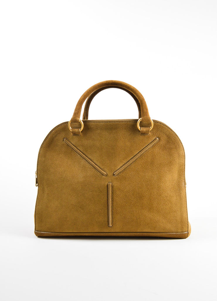 "Yves Saint Laurent Brown Pebbled Suede Leather ""Sac 32"" Tote Bag Frontview"
