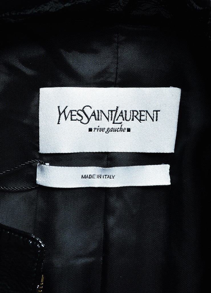 Yves Saint Laurent Black Glossy Faux Leather Lace Up Jacket Brand