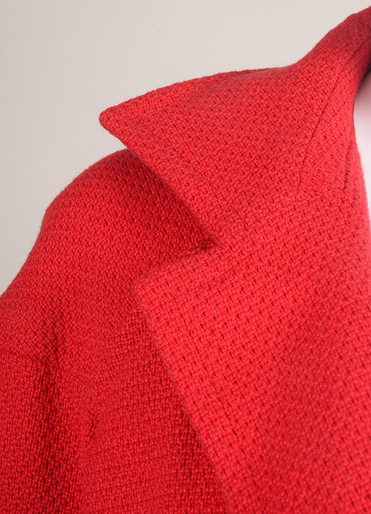 Yves Saint Laurent Red Cotton Cropped Jacket Detail