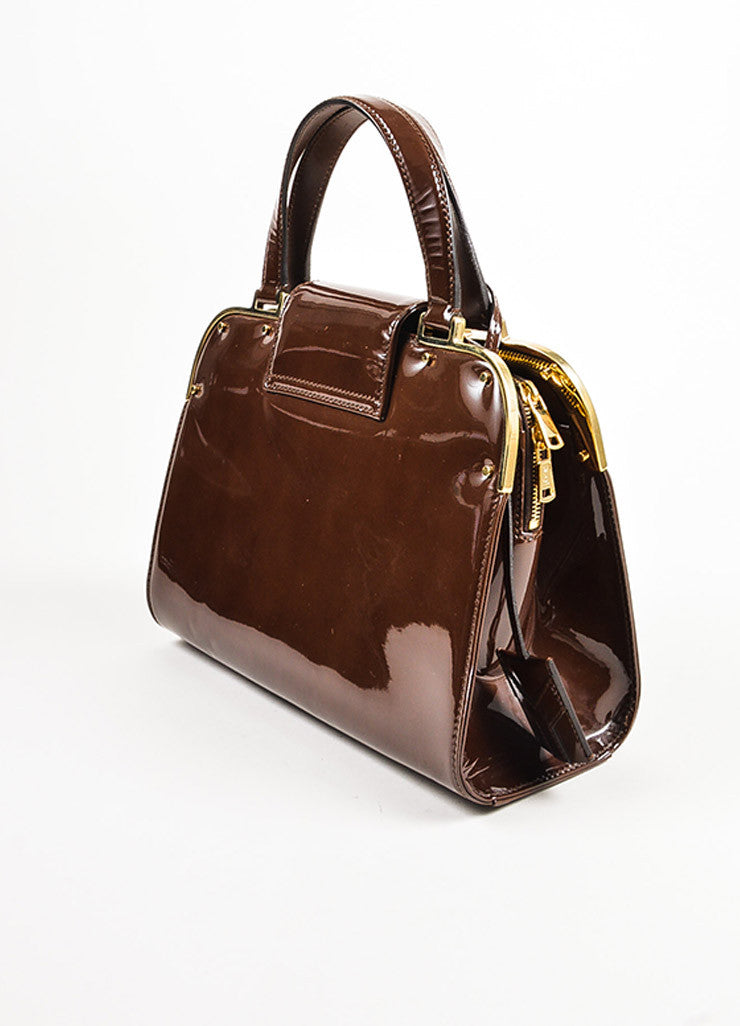 "Yves Saint Laurent Rive Gauche Brown Patent Leather ""Small Uptown"" Frame Bag Sideview"