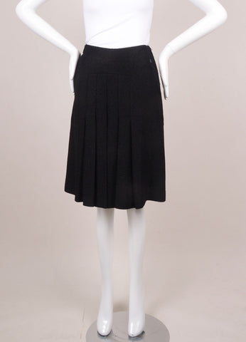 Chanel Black Metallic Wool Pleated Skirt Frontview