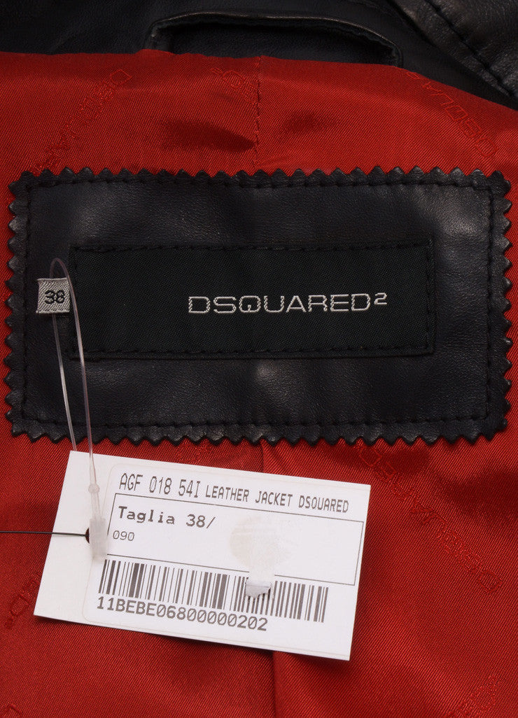 DSquared2 Black Leather Structured Long Sleeve Jacket Brand