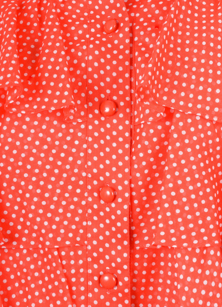 Red and White Nina Ricci Polka Dot Print Ruffle Blouse