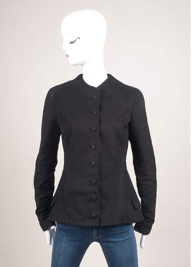 Alessandro Dell'Acqua Black Cotton Peplum Jacket Frontview