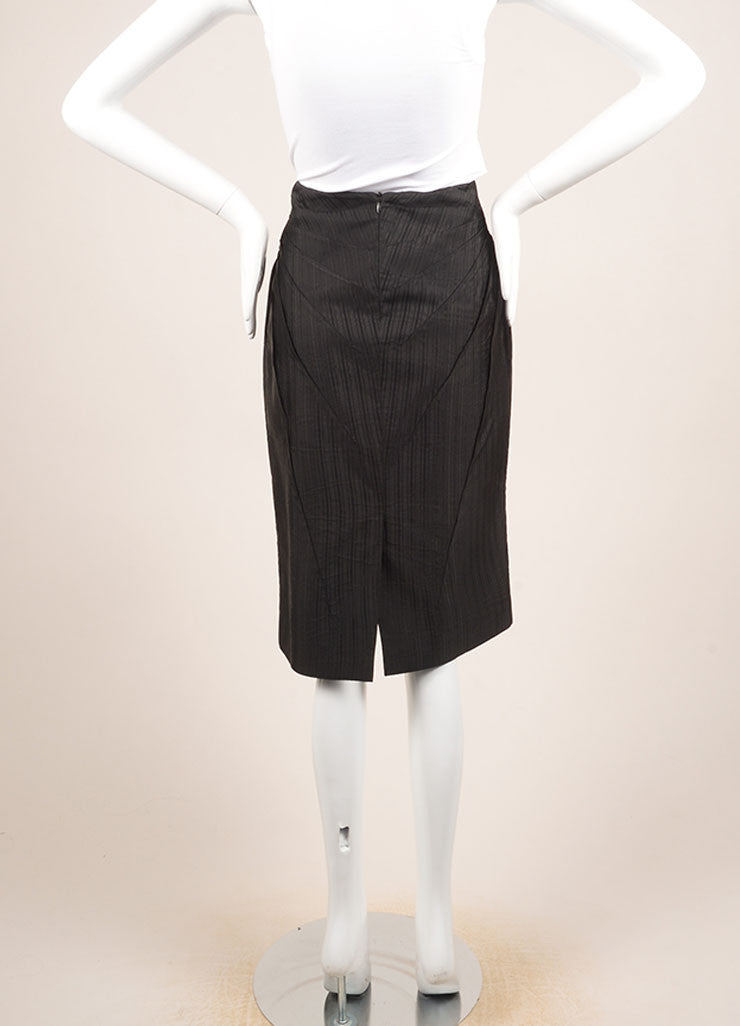 Alexander McQueen Black Silk Pinstripe Pintuck Pleated Pencil Skirt Backview