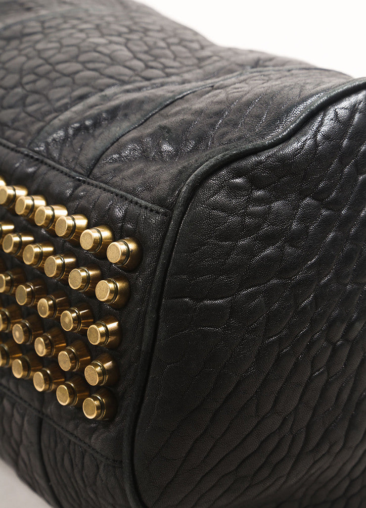 "Alexander Wang Black Pebbled Leather Gold Toned Studded ""Rocco"" Duffel Bag Detail"