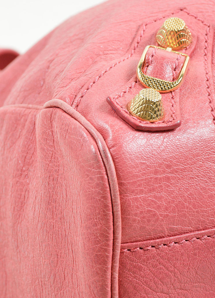 Balenciaga Pink Leather Gold Toned Stud Moto City Tote Bag Detail