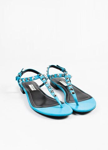 Balenciaga Teal Blue Leather Studded Ankle Strap Thong Gladiator Sandals Frontview