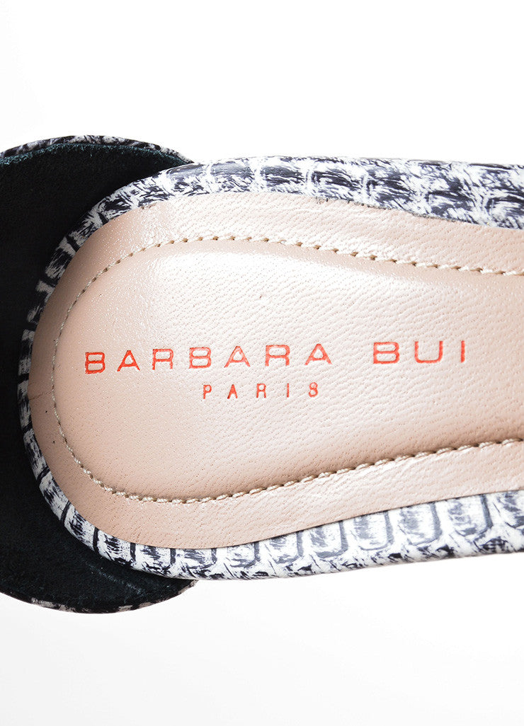 "Barbara Bui Black and White Snakeskin Embossed ""Dotty"" Sandals Brand"
