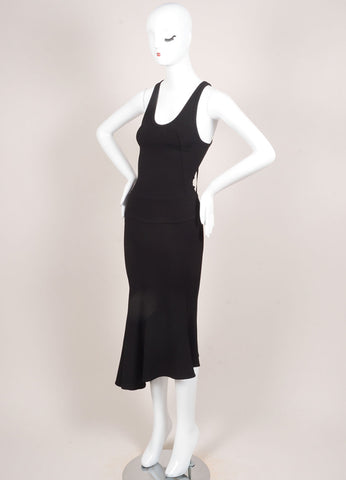 Boudicca New With Tags Black Knit Flare Sleeveless Dress Sideview