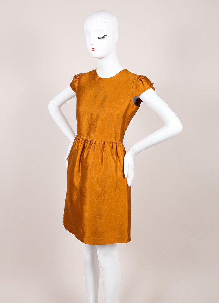 Burberry New With Tags Burnt Orange Silk and Wool Blend Metallic Cap Sleeve Dress Sideview