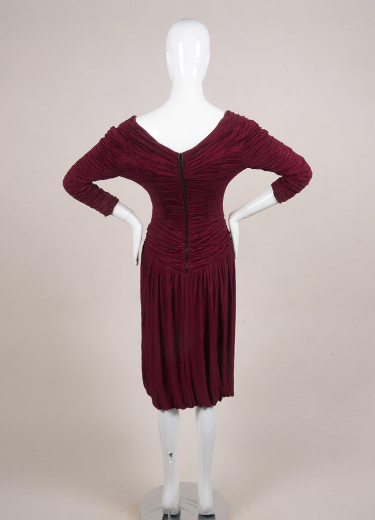 Burberry Prorsum New With Tags Burgundy Jersey Ruched Pleated Crop Sleeve Dress Backview
