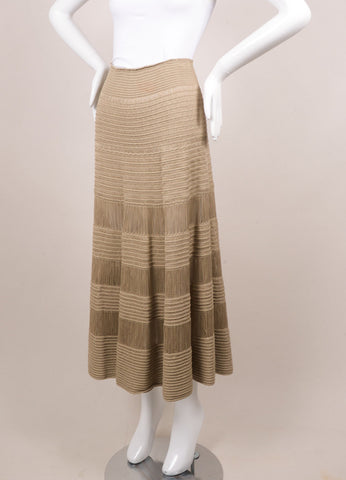Celine Beige Silk and Cotton Tiered Knit Long Skirt Sideview