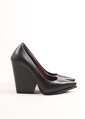 Celine Black Leather Pointed Toe Chunky Heel Leather Pumps Sideview